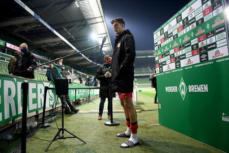 Bayer Leverkusen's Kai Havertz talks to the media after the match against Werder Bremen