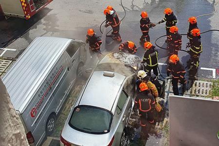 Cab catches fire at Yishun carpark