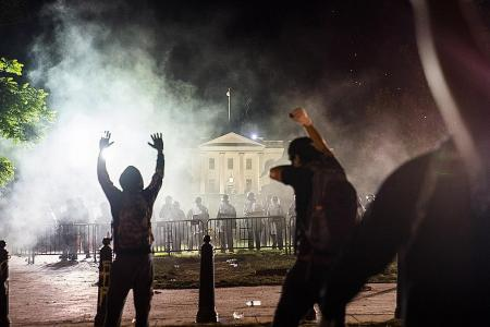 Fires burn near White House as violent anti-racism protests continue