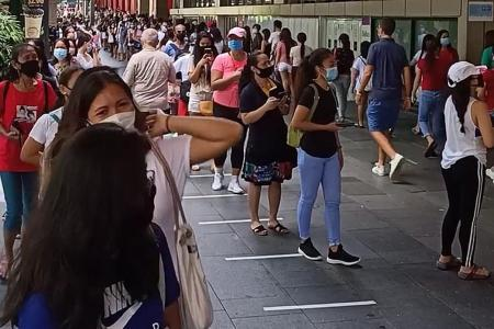 Safe distancing concerns over crowds at Lucky Plaza