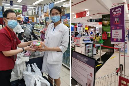 Priority queue for healthcare heroes at FairPrice