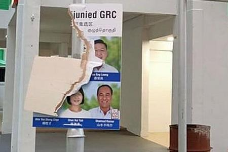 Two people under investigation over damage to PSP and PAP posters