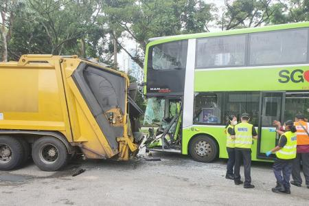 Five hurt in bus-truck collision in Ang Mo Kio