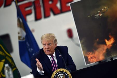 Trump blames 'explosive' trees for California wildfires