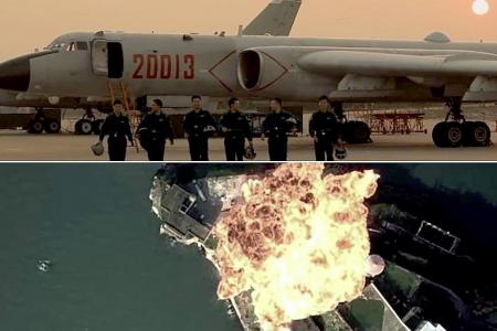 China's air force video shows simulated attack on US airbase