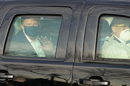 Trump criticised after he takes a 'joy ride' to greet supporters