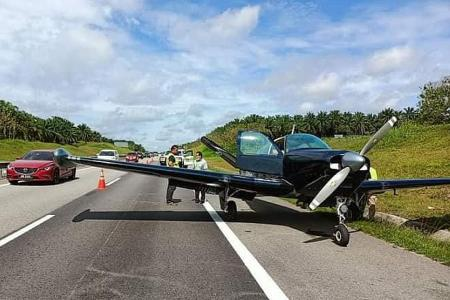 Singapore pilots forced to land plane on expressway in Johor