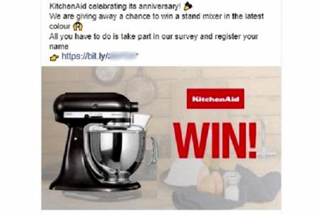 Scammers using kitchenware brands to lure victims