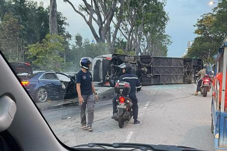 22 taken to hospital after bus, car collide on Jurong Island