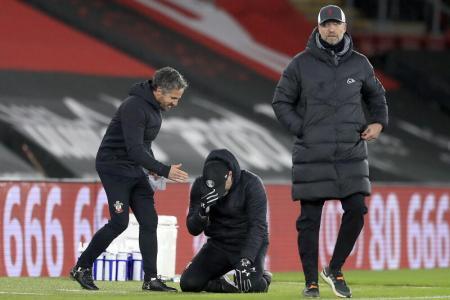 Hasenhuettl cries tears of joy as Southampton beat Liverpool