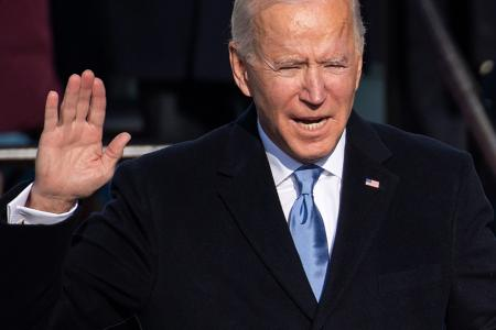 US President Joe Biden is sworn in as the 46th US President on January 20, 2021, at the US Capitol in Washington, DC