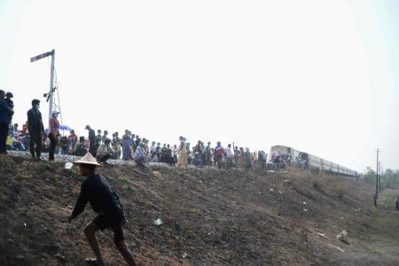 Myanmar protesters block railway line; military promises new election