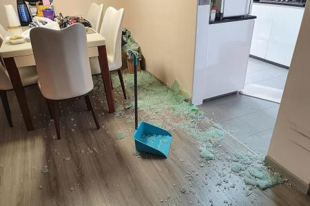 Close shave for home owner as glass door shatters suddenly