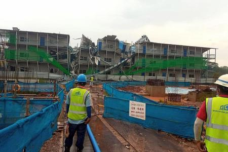 12m-tall steel structure collapses at construction site in Tengah