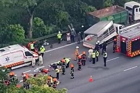 Migrant worker killed, 16 injured after lorry hits tipper truck on PIE