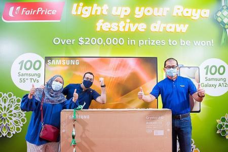 Join FairPrice Hari Raya Lucky Draw to win Samsung TV, Galaxy A12