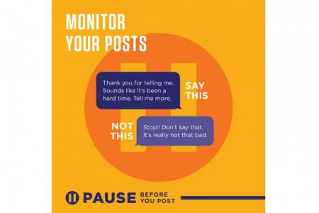 #PauseBeforeYouPost campaign: A move to help young people have safe conversations with those in mental distress