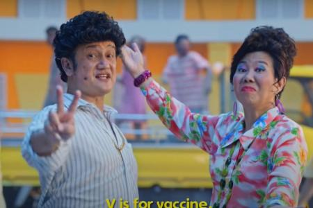 Gurmit Singh, Irene Ang defend use of Singlish in PCK vaccination MV