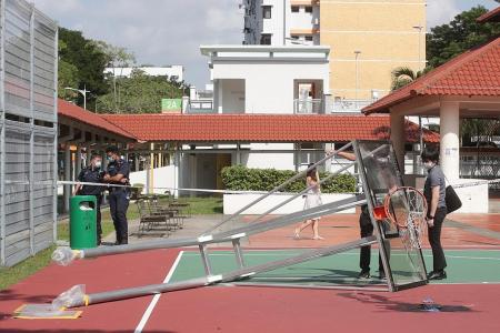 Hoop structure was 'already tilted' when teens began playing there