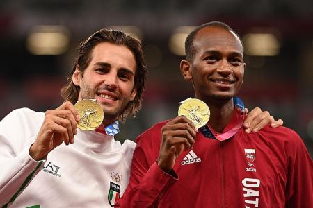 High jumpers Barshim and Tamberi revel in sharing gold medal