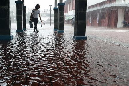 Heavy rain causes flooding in Hougang, Punggol Way slip road