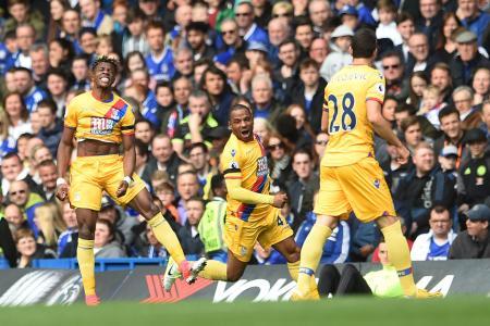 Crystal Palace's Wilfried Zaha celebrates equalising against Chelsea