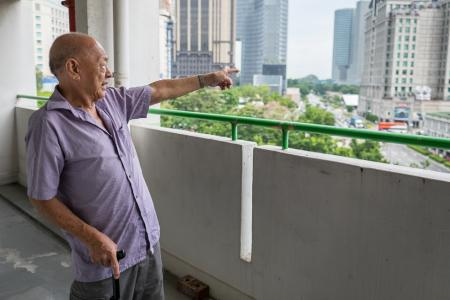 Reminiscing about the views from his corridor at his old Rochor Centre. When he first moved in, he had an unobstructed sea view.