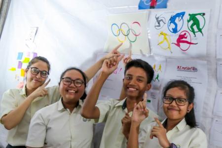 Putri Azra Besim Kukuljac, Jihan Fahira Jassuri, Mohamad Iqmal Mohamad Fairuz and Nur Farihah Ahmad Faruzi of Team DinoSoar were inspired by Joseph Schooling's historic gold medal swim.
