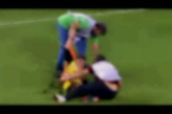 Worst Stretcher Bearers Ever?!? Hilarious Scenes As Greek Player Is Given Rough Treatment