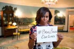 US First Lady Michelle Obama took to social media on Wednesday to show her support for the #bringbackourgirls campaign.