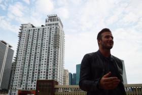 Beckham in Miami schmoozingfor support of his stadium. Except that so far none are forthcoming.