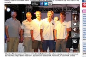 All smiles: The last picture of the crew of the Cheeki Rafiki shows the sailors enjoying an awards ceremony at the end of the Antigua Sailing Week 2014. Steve Warren is shown left, Paul Goslin, is second left, Andrew Bridge is seen second to right, and James Male is pictured right