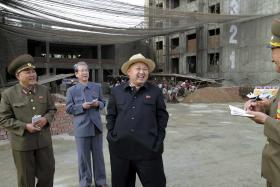North Korean leader Kim visits the construction site of apartment buildings for faculty members of Kim Ch'aek University of Technology