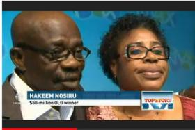 Mr Hakeem Nosiru and his wife Abiola endured a roller coaster ride of emotions before reuniting with their lost lottery ticket.