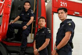 ALL IN A DAY'S WORK: (From left) Captain Leonard Lee, Warrant Officer 1 Andrew Tai and Sergeant Fadly Ismail were three of seven Dart members who helped rescue the sick crane operator.