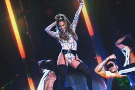 Jennifer Lopez performs during her first ever hometown concert.