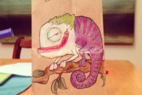 Dad draws on his kid's lunch bag every day for two years.