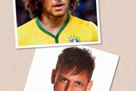 BIZARRE: With this photo posted on his official Facebook page, David Luiz showed what he would look like with Neymar's hairstyle and vice versa.
