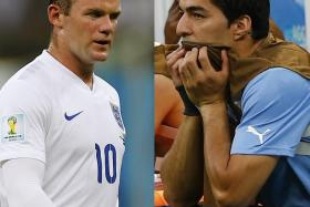 KEY MEN: Wayne Rooney was largely ineffective against Italy on England's left wing while Uruguay sorely missed Luis Suarez as they lost to unfancied Costa Rica.