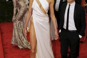 Polish model Anja Rubik's slinky gown showed off her right hipbone and toned midriff as she attended the Costume Institute Benefit at The Metropolitan Museum of Art last month. PHOTO: