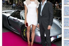 Maria Sharapova (left) arrived at the pre-Wimbledon party in the Porsche 918 Spyder (background), driven by former F1 racing driver Mark Webber. PHOTO: