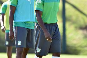 Yaya and Kolo Toure taking part in a training session in Aguas de Lindoia, Brazil early this week. Photo: