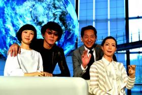 (From left) Humanoid robot Kodomoroid, Osaka University professor Hiroshi Ishiguro, museum director Mamoru Mori and humanoid robot Otonaroid at the National Museum of Emerging Science and Technology in Tokyo on June 24.