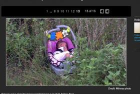 Eight-month-old Genesis Haley was found in the grass after a five-hour search. She had been missing when the car she was in was stolen at a gas station in Houston, Texas, on Monday.