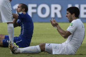 Luis Suarez (right) has been charged for biting Giorgio Chiellini (left) during Uruguay's 1-0 win over Italy at the World Cup.