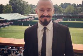 """""""Bucket list - check!!!"""" declared Aussie actor Hugh Jackman, as he took his first selfie of the day at the Wimbledon championships on Tuesday."""