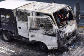 AFTERMATH: The Certis Cisco vehicle after the blaze.