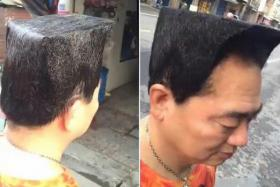 A Taiwanese man, 54, went to the hair-dresser to create this unique hairstyle that resembles a Lego figurine, in the hopes of charming a girl.