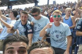 Sporting Kansas City striker Dom Dwyer snapped a selfie with fans after scoring in the Sunday match and earned himself a caution.