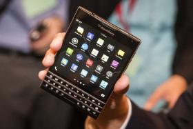 The unreleased BlackBerry Passport device is shown during the company's annual general meeting for shareholders in June.